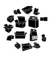 boxes different shapes icons set simple style vector image
