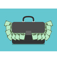 Briefcase full of money vector image vector image