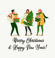 christmas and happy new year people are preparing vector image vector image