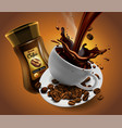 coffee advertising design with cup of coffee and vector image vector image