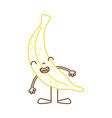 color line kawaii banana smile fruit with arms and vector image vector image
