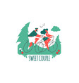 couple on bicycles man and girl sport and vector image