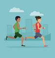 couple running in the city vector image vector image