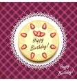 Cream birthday cake decorated with strawberries vector image vector image