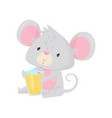 cute little mouse sitting and drinking tasty vector image vector image