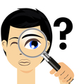 Detective with magnifying glass vector image vector image