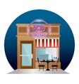 donuts restaurant building facade with neon label vector image
