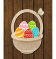 Easter background with eggs in basket vector image vector image