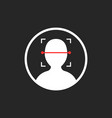 face id scanner icon isolated on black vector image
