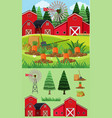 farm scene with red barns and carrot garden vector image vector image