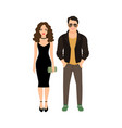 fashionable couple isolated icon vector image vector image