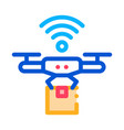 flying drone icon outline vector image