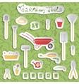 Garden tools stickers set vector image vector image