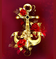 golden anchor with roses vector image