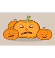 Halloween with pumpkins scary face vector image vector image