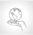 hand holding the earth palm hold the globe vector image vector image