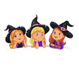 happy halloween funny children in hat on white vector image vector image