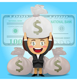 happy woman carrying big money bag vector image vector image