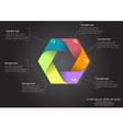 hexagon infographic on black background vector image vector image