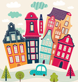 Houses and road vector image
