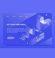 isometric payment terminal landing page vector image vector image
