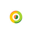 letter o eco round colored logo vector image