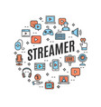 live streaming round design template contour lines vector image