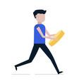man runs with a coin vector image vector image