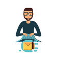 man with laptop and envelope mail vector image vector image