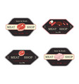meat product logo and brands beef pork vector image