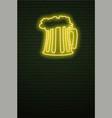 mug beer neon sign and green brick wall vector image