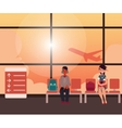 People waiting for flight in airport terminal vector image
