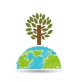 planet earth ecology tree felling icon vector image