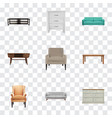 realistic cupboard furniture settee and other vector image vector image