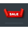 Red curved paper ribbon isolated on dark vector image