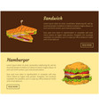sandwich and hamburger set vector image vector image