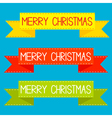 set colorful ribbons merry christmas card vector image