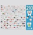 set cute tooth emoji emoticons vector image vector image