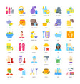 set flat icons of health and beauty