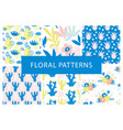 set hand drawn colorful floral repeat patterns vector image vector image