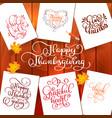 set hand drawn thanksgiving day texts vector image vector image