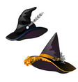 set of black witch hat sketch for greeting card vector image vector image