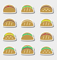 set of color tortilla tacos food stickers set vector image vector image