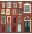 Set of European Vintage Doors and Windows vector image