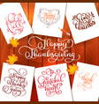 set of hand drawn thanksgiving day texts vector image vector image