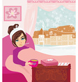 sick girl lying in bed vector image