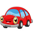 smiling red car cartoon on white background vector image