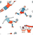 soccer football player game match fans line icons vector image
