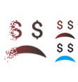 sparkle pixel halftone bankrupt sad emotion icon vector image vector image