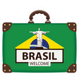suitcase in colors brazilian flag vector image vector image